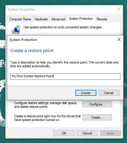 My First System Restore Point