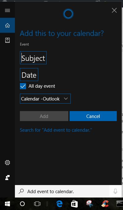 Cortana useful Commands calander