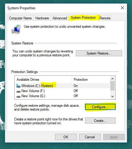 system restore configure
