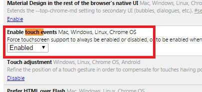Enable Touch Events - Make Chrome Faster