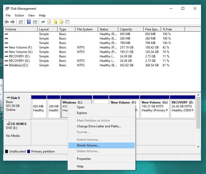 Select Shrink - Shrink windows 10 Partition