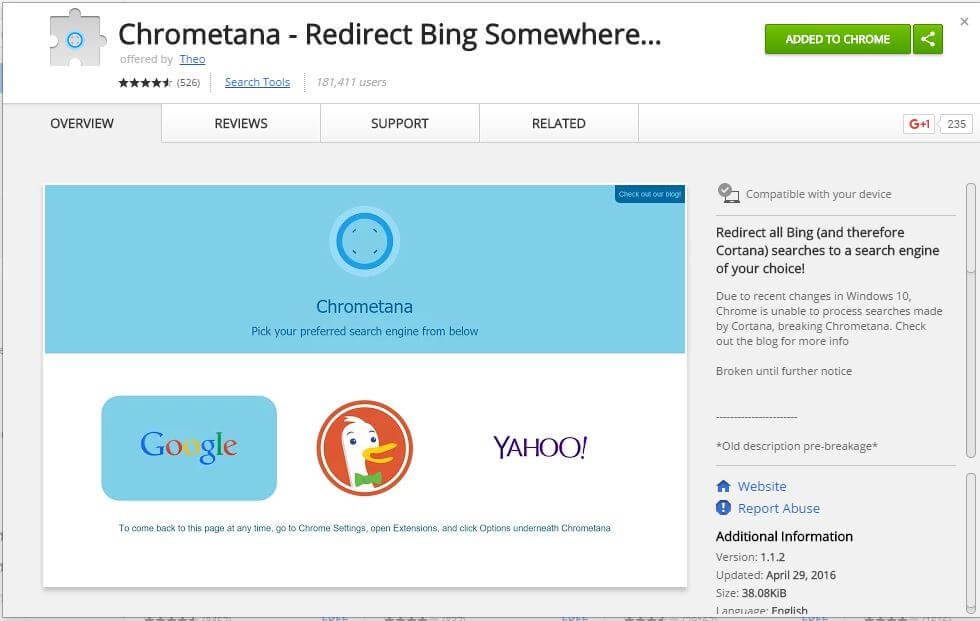 Chrometana - Redirect Bing