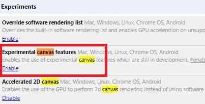 make chrome faster enable canvas