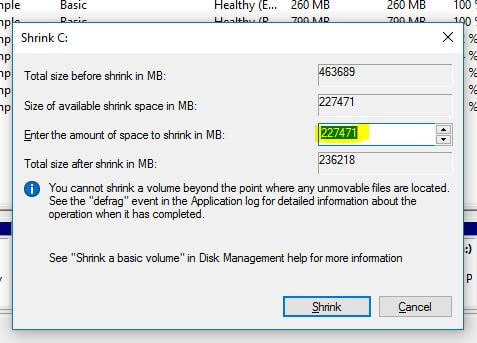 total space available Shrink windows 10 partition