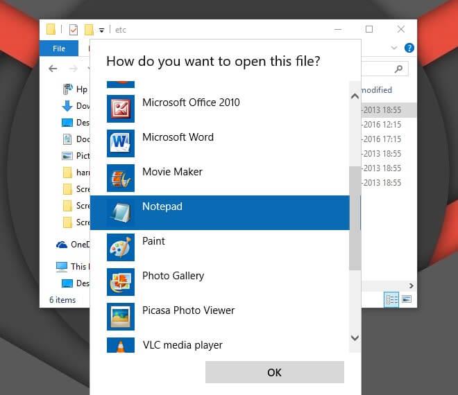 Open host file in notepad Block Website