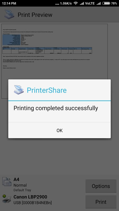 Print from Android 8