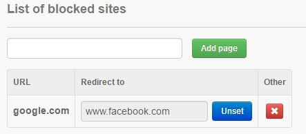 Redirect block site