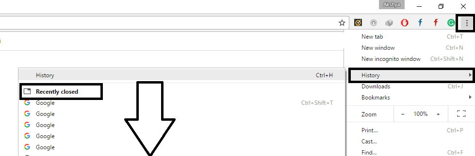 reopen recently closed tabs using History