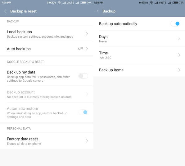 Android Backup - Backup & reset