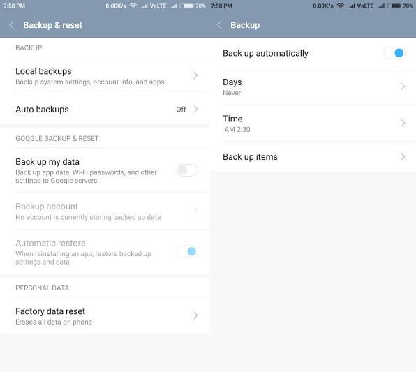 Android Backup - Backup & reset