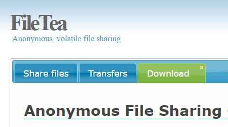 Anonymous File Sharing - Filetea