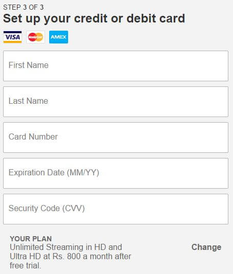 Free Netflix account - card