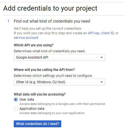 Add credentials - Google assistant for PC.
