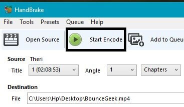 Start encode - Video compression software