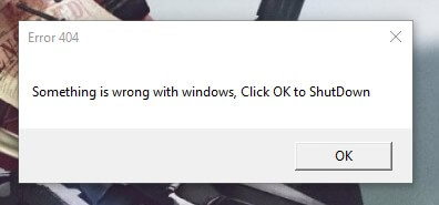 how to make a fake error message windows 10