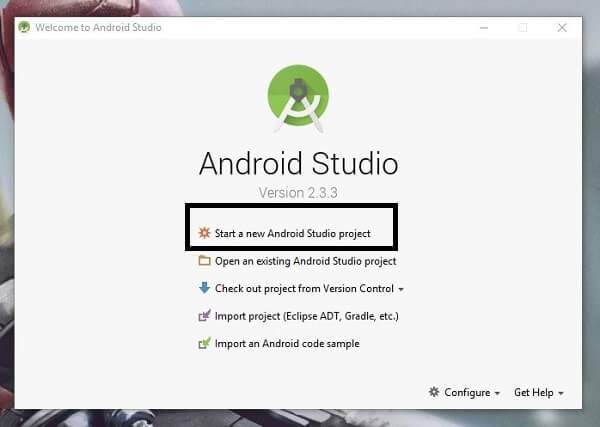 Install Android Oreo on PC - Start a New Android Project