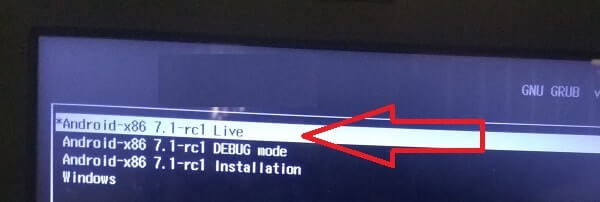 Install Android on PC - Select Android x86 Live option