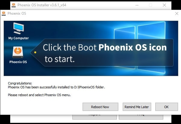 Phoenix OS Installed Successfully