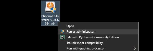 Run Phoenix OS File as Administrator