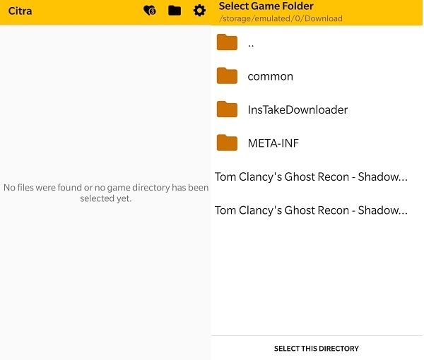 Select this directory - Citra Emulator