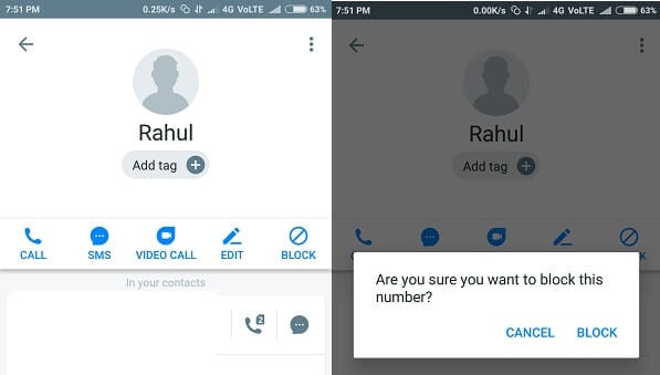 Block text messages - Block contact using truecaller