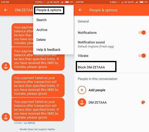 Block text messages - Google Messaging App