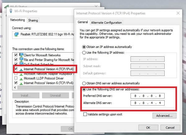 Change DNS - DNS PROBE FINISHED NO INTERNET