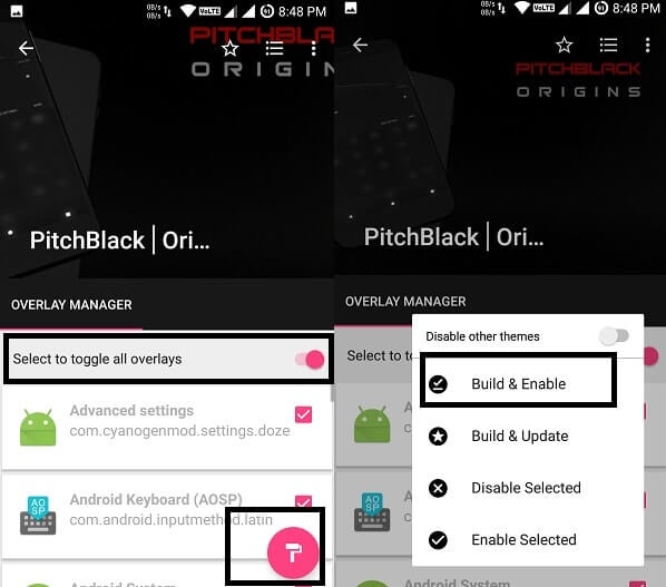 Install substratum Android theme - Select and Build Overlays