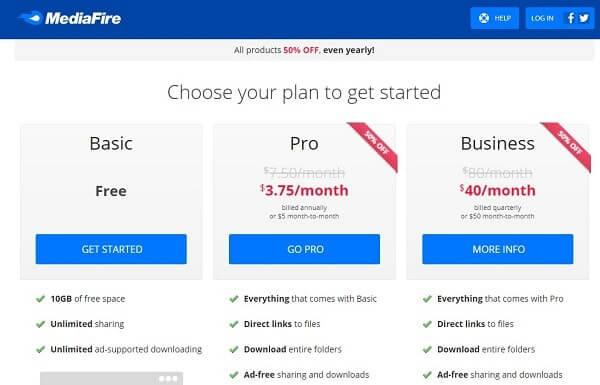 Mediafire-Alternatives to Dropbox