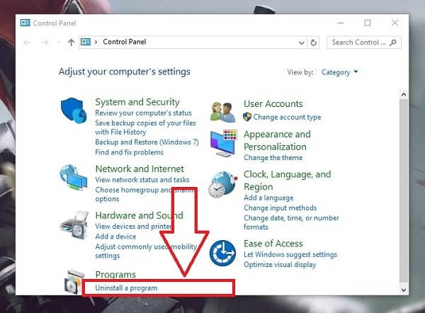 Remove OneDrive Windows 10 - Control Panel
