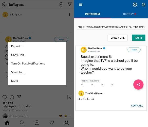 Save Instagram Photos using App