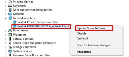 Update driver software - WiFi connected but no internet access