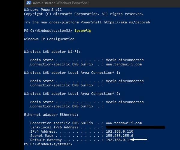 ipconfig - default gateaway