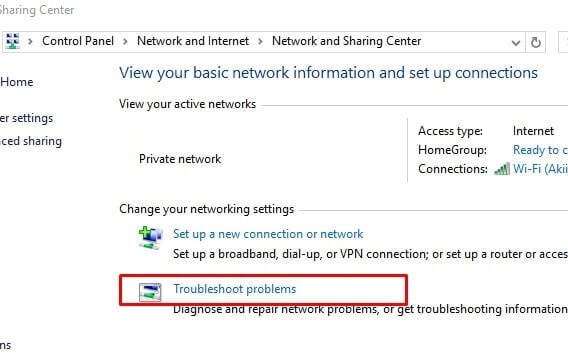 troubleshooter- WiFi connected but no internet access