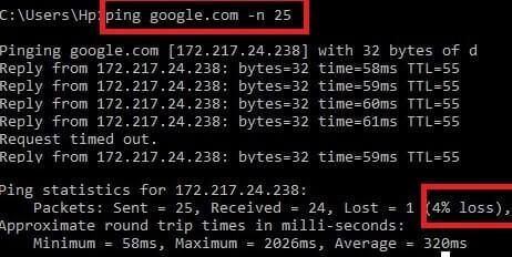Ping Google and check Packet loss