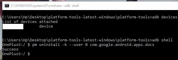 Uninstall App command