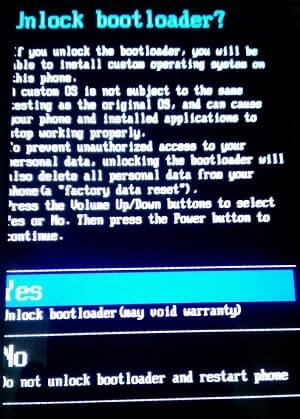Unlock Bootloader Select yes