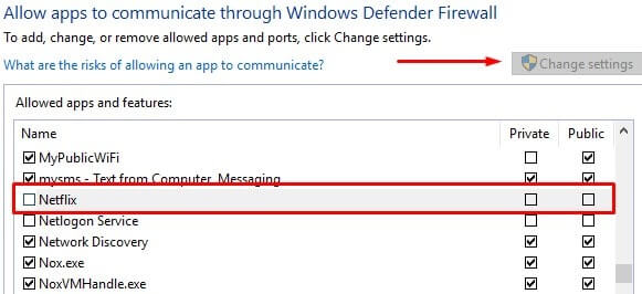 Disable App firewall