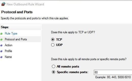 Enter port information