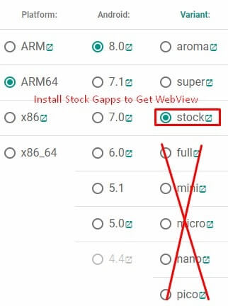 Install Stock Gapps to Get WebView