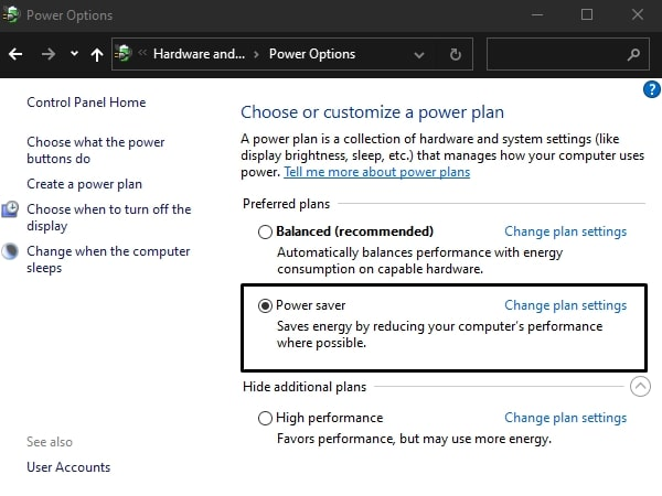Laptop battery draining quickly - Power Saver