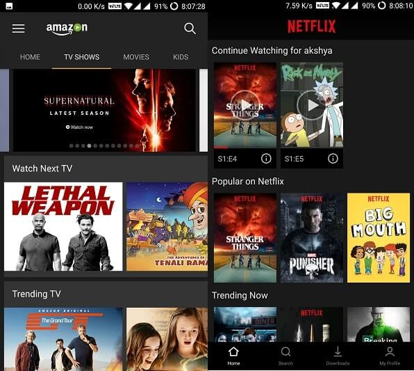 Netflix vs Amazon Prime TV Shows