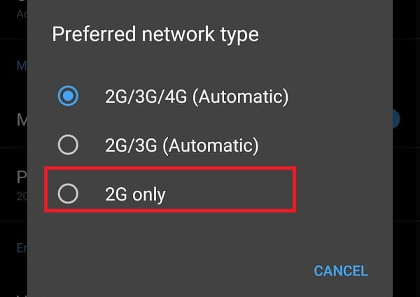 Preferred network type