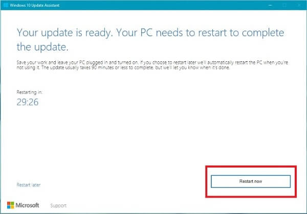 Restart Windows to update