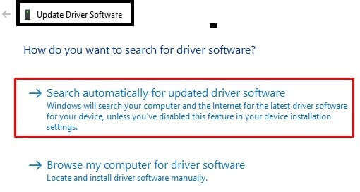 Search Automatically for Driver Software