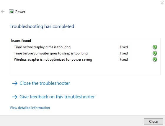 Troubleshooting has completed.