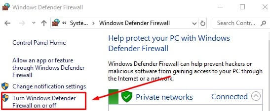 Turn on Windows Firewall