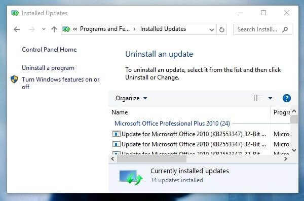 Uninstall Recent Updates - Getting Windows Ready