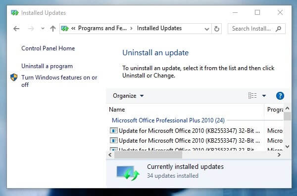 Uninstall Recent Updates - Getting Windows Ready