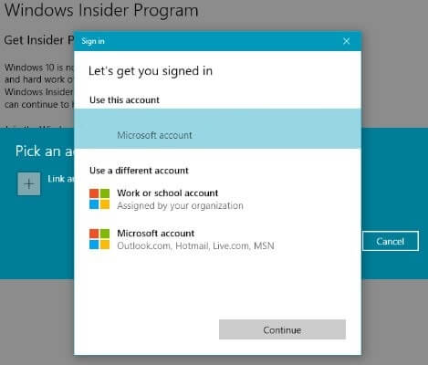Windows Insider Program - Link Microsoft Account